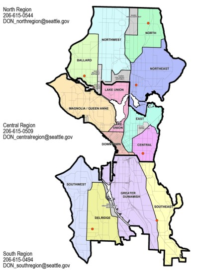 This is how the City of Seattle roughly delineates its neighborhood communities for statistical purposes, although the 2010 census data may represent a slightly different region. (City of Seattle)