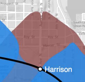 Harrison station walkshed
