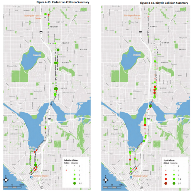 Pedestrian and bicycle collisions. (City of Seattle)