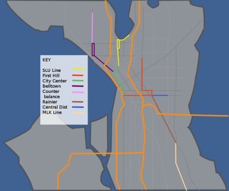 Schematic vision of the Seattle Streetcar.