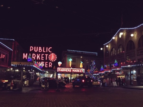 Decorations at Pike Place Market. (Photo by Stephen Fesler)