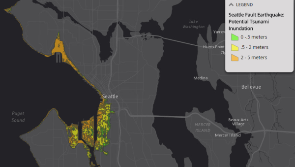 Potential extent of tsunami inundation from a major earthquake in Seattle. (City of Seattle)