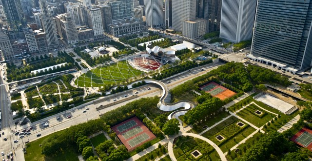 Though completed four years late and $325 million over budget, Chicago's Millenium Park is an excellent example of a modern urban park in a major downtown with things to see, hear, feel, and do. It's also essentially a giant lid; its 24 acre surface is 45 feet above a cavern of rail yards, parking garages, and transit tunnels. (Chicago Genie)