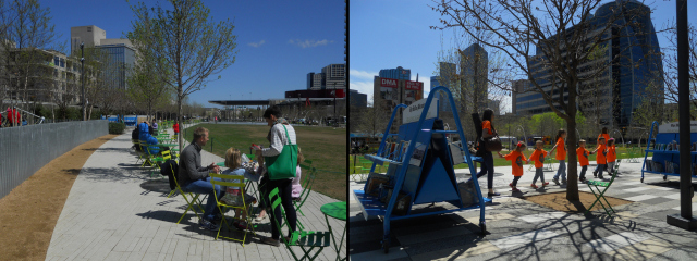 Klyde Warren Park attracts a variety of visitors, including tour groups from the nearby museums. (Photos by the author)