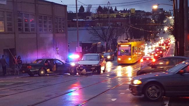 A crash delays the First Hill Streetcar. (Photo by Scott Bonjukian)