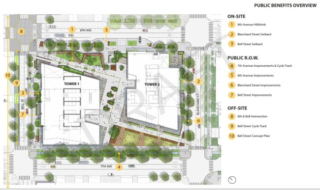 A map showing the proposed public benefits on the site. Click for a larger version. (City of Seattle)