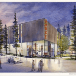 Drawing of the west elevation for the new Burke Museum. (City of Seattle/Olson Kundig Architects)