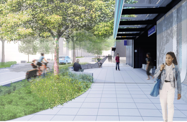 These are the kinds of streetscape improvements that will be made on Brooklyn. (Sound Transit / LMN Architects / Swift Company)