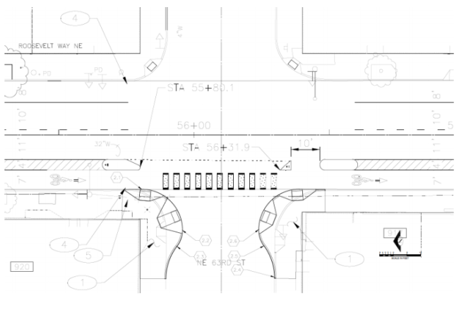 Proposed layout of NE 63rd St and Roosevelt Way NE. (City of Seattle)