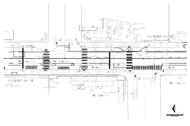 Proposed layout at NE 43rd St and Roosevelt Way NE. (City of Seattle)