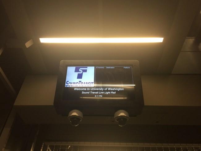 New dynamic sign at University of Washington Station.