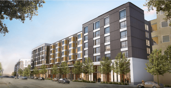 The Valdok building will stand 7-stories tall at 1701 NE 56th Street in Ballard (155 apartments, 22 live-work units, 163 below grade parking units). It's about as high as Type V construction can go. CTL or concrete will be needed to go higher. (Clark Design Group)