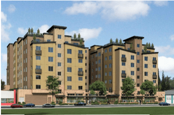 A 7-story mixed use building is going up at 13730 Lake City Way NE. Several other 7-story buildings are planned in the vicinity. (Modern Design Group)