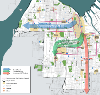 Sound Transit 3 could fund the remaining portions of Tacoma's HCT system, but Mayor Strickland only requested that the Blue Line to TCC be included in the ballot measure. Click to enlarge. (City of Tacoma)