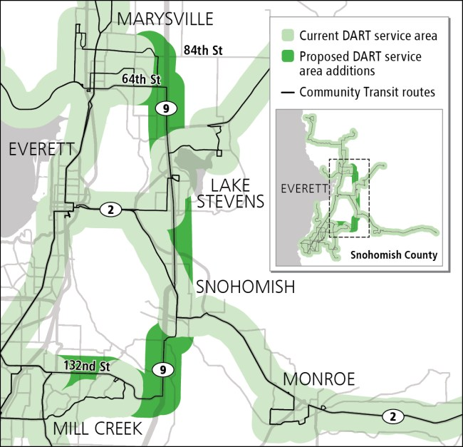 Proposed expansion of DART service area. (Community Transit)
