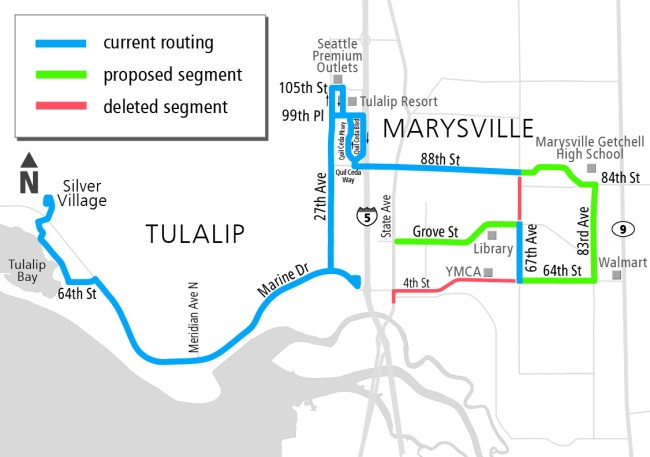 Route 222 revision proposed for Fall 2016. (Community Transit)