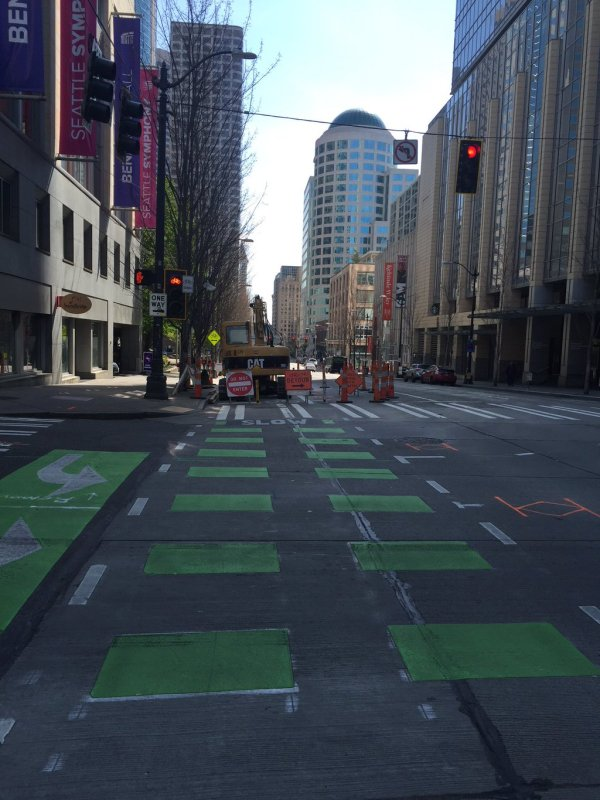 The 2nd Ave protected bike lane closed for construction.