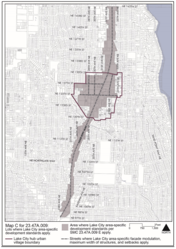 Map C: Areas where special development standards apply in the Lake City area. (City of Seattle)