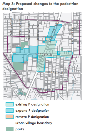 Areas where Pedestrian designations could occur. (City of Seattle)