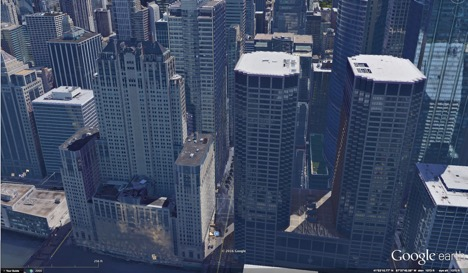 Chicago: 130 feet between foreground two towers, 75 feet between the two towers directly behind. No spacing required. (Credit: Google Earth)
