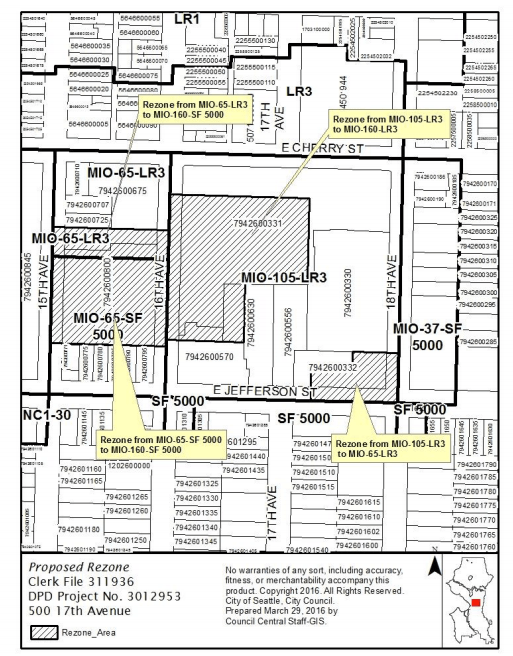 Approved zoning changes to the Swedish Cherry Hill campus. (City of Seattle)