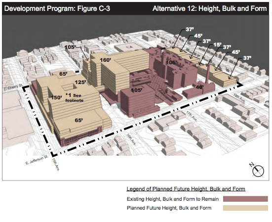 Conceptual bulk form of the future campus. (City of Seattle)