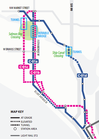 Some of the alternatives considered for a Ballard line. (Sound Transit)