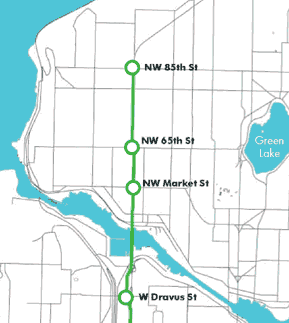 Seattle Monorail's Green Line alignment in Ballard (Seattle Monorail Project)