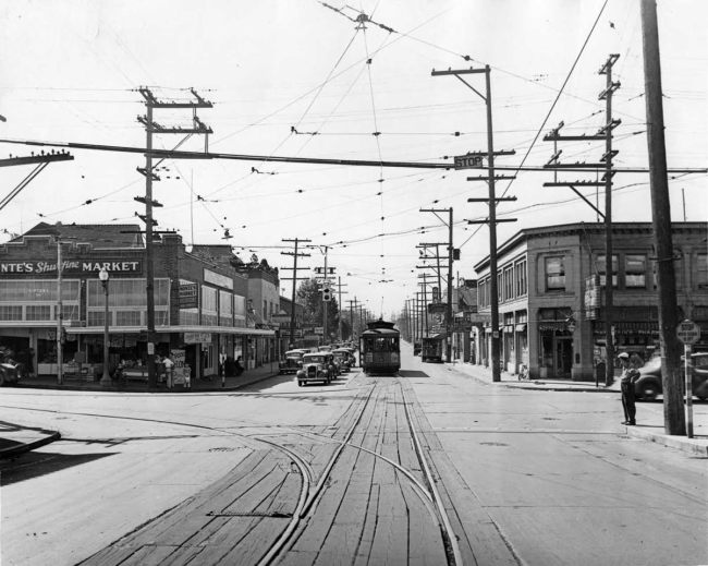 The bygone days of Greenwood when streetcars graced the vibrant North Seattle neighborhood. (Seattle Now and Then)