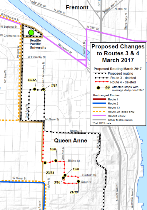 Revision of Queen Anne bus Routes 3 and 4. (King County)