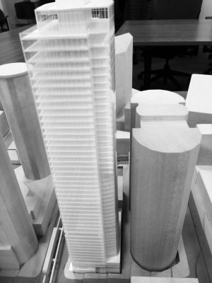 Scale model of the proposed 5th & Virginia building.