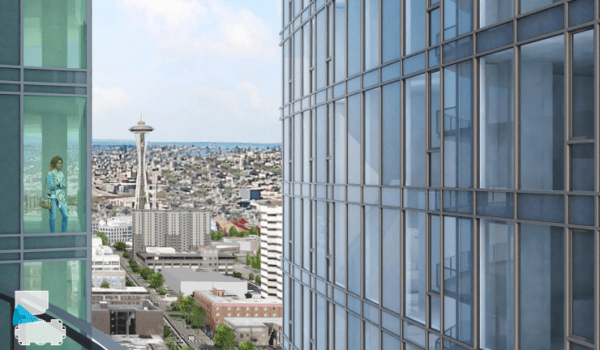 A view from the 5th & Virginia building to the Space Needle and the Escala next door. (City of Seattle / Perkins + Will)