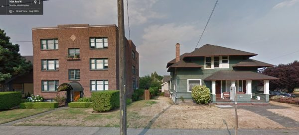 Two great examples of multi-family housing in a single-family neighborhood, near the corner of 10th Avenue West and West Blaine Street. (Google Streetview)