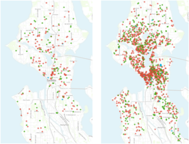Airbnb rental reviews from July 2013 (left) and July 2015 (right). Red dot = entire house/apartment; Green dot = private room; and Blue dot = shared room. (Inside Airbnb / City of Seattle)