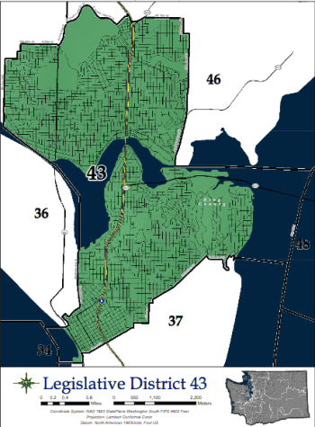 The 43rd Legislative District stretches from downtown to Madison Park and north to Green Lake, picking up First Hill, Eastlake, Montlake, Wallingford, Fremont, and parts of University District, and Ravenna along the way. (Washington State Redistricting Commission)