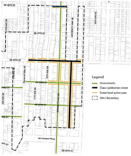 Proposed street classifications in the University District. (City of Seattle)