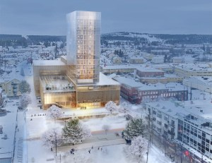 The wooden framed, steel-girded tower will house a cultural center and a hotel.