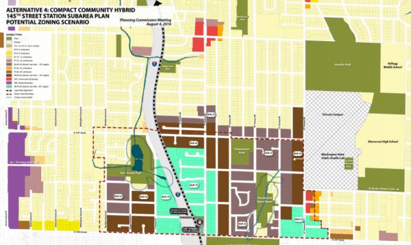 Commissioner Bork's Compact Community Hybrid zoning alternative. (City of Shoreline)