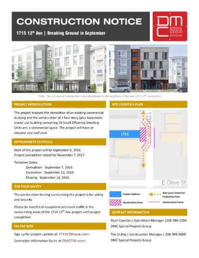 Construction notice for 1715 12th Ave. (DMC Special Projects Group)