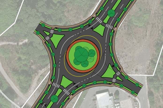Example of a modern roundabout plan on a state highway, with an outer ring for pedestrians and cyclists. (Graphic by Scott Bonjukian)