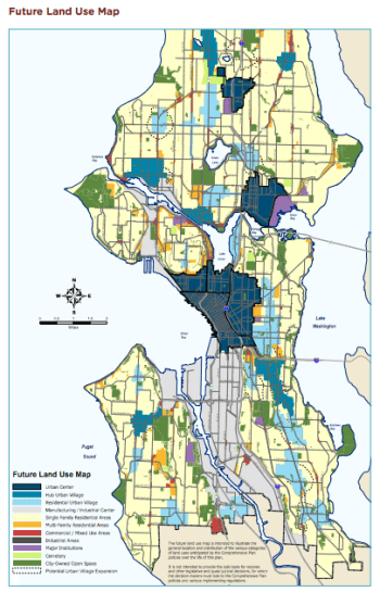 Recommended Plan for the new Future Land Use Map. (City of Seattle)