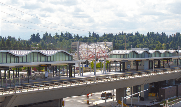 "The ""Cloud"" sculpture looms over the elevated Angle Lake Station. (Sound Transit)"