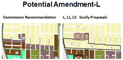 Amendment L would change all proposed MUR zoning north of 155th Street to R-6, except certain blocks. (City of Shoreline)