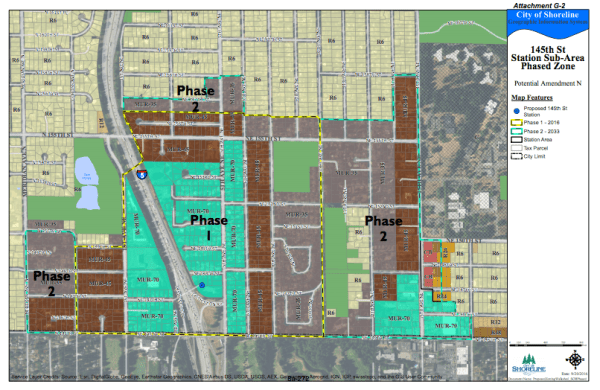 Proposed phase rezone map based upon the Planning Commission's recommend rezone. (City of Shoreline)