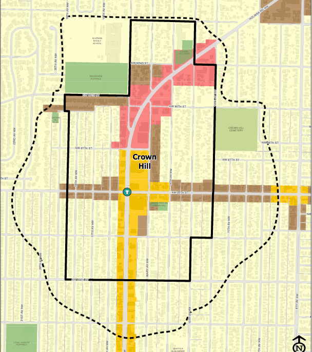 The dotted line represents potential expansion of the Crown Hill urban residential village. (2035)