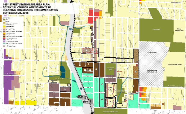 Overview of possible areas where rezone amendments could be made indicated by black boxes, red line, and letters. (City of Shoreline)