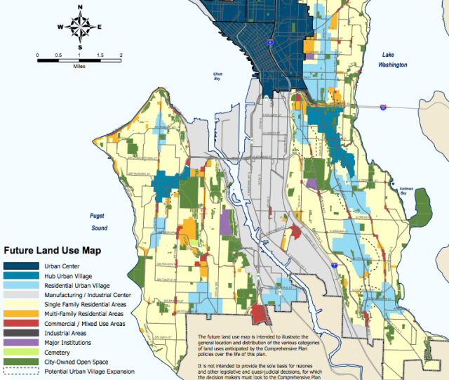 The proposed Future Land Use Map from the Mayor's Recommended Plan; note that urban villages have only one assigned color. (City of Seattle)