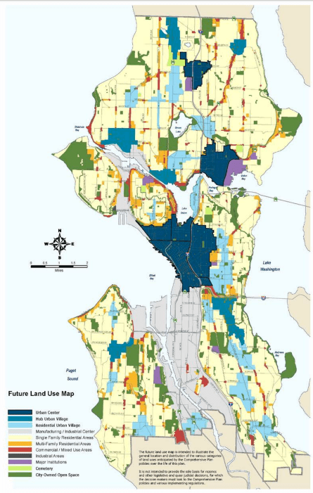 "The proposed FLUM for adoption with urban centers and urban villages ""painted."" (City of Seattle)"