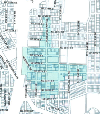 Station area overlay district in Roosevelt. (City of Seattle)