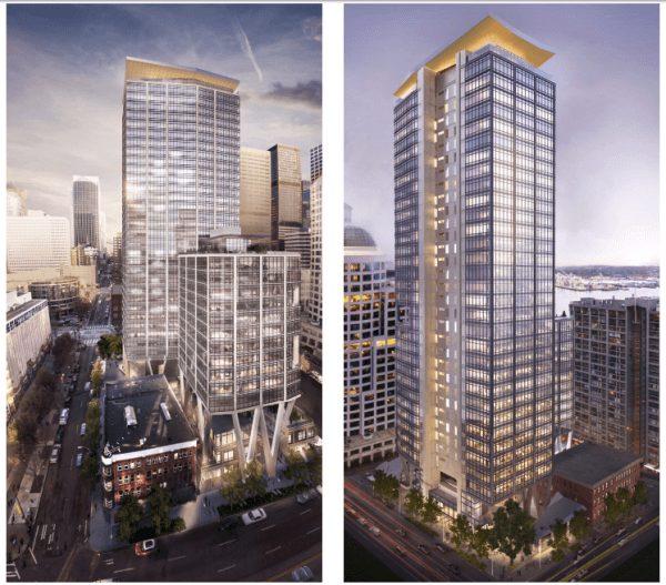 Rendering of the proposed 2+U towers. (City of Seattle / Pickard Chilton Architects)